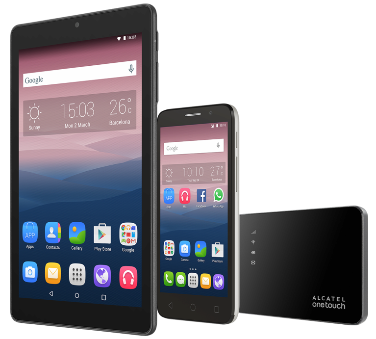 Alcatel Pop 3 + tablet Pixi 8 + router